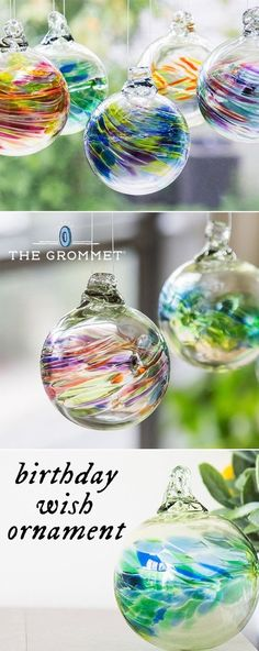 The Kitras family has been hand blowing glass ornaments for decades. These orbs, made from recycled glass, come in birthstone colors and sparkle colorfully.