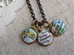 Map and washer with date/name of convention - do this but with glass bead and magnet