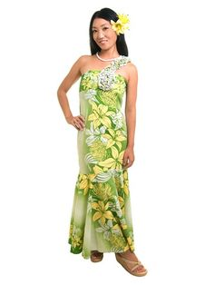 [Exclusive]May One Shoulder Lei Dress [Lily / Green] - Hula Costumes - Hula Supply | AlohaOutlet SelectShop