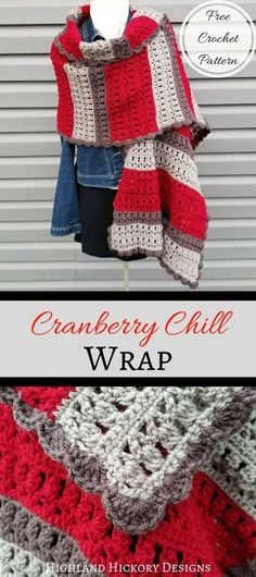 Crochet Shawl Free pattern for a crochet wrap in pretty fall/winter colors - Crochet the Cranberry Chill Wrap as a gift or for yourself! It's an easy, beginner friendly free pattern and you can customize the length and colors. Crochet Afghans, Crochet Motifs, Crochet Stitches, Free Crochet, Crochet Baby, Easy Crochet Shawl, Crochet Shawls And Wraps, Crochet Scarves, Crochet Clothes