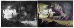 Bambi Side-By-Side Layout/ Background Painting Comparison    Reconstruction by Hans Bacher