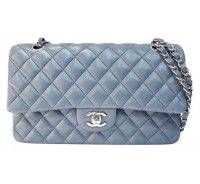 Chanel Light Blue Quilted Lambskin Classic 2.55 Double Flap Shoulder Bag