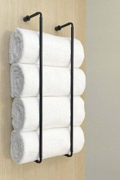 Bathroom Towel Storage, Towel Shelf, Bathroom Towels, Master Bathroom, Bath Towel Racks, Wine Towel Rack, Bathroom Rack, How To Roll Towels, Bathroom Inspiration