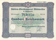 Aktien-Bierbrauerei Mittweida Aktie 100 RM 1930