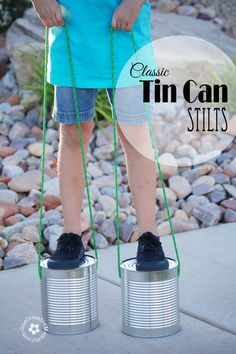 Simplify playtime with Tin Can Stilts! This classic toy is sure to please! {OneCreativeMommy.com} #tutorial