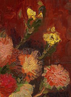Vincent van Gogh, details from Vase with Chinese asters (1886)