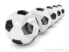 3d rendered row of soccer balls isolated over white background