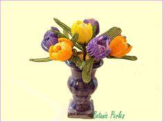 Fleurs en perles Crocus grandeur nature : Accessoires de maison par botanic-perles