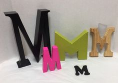 Lot 5 Letters M Decorative M's Black Pink Green Wood #Unbranded #Letters