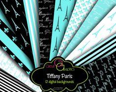 Tiffany Blue Paris Backgrounds, Printable Paris Digital Paper