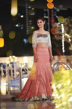 Sangeet Lehengas - Dull Pink Lehenga with Tasseled Silver Blouse Choli Designs, Bridal Blouse Designs, Lehenga Designs, Fancy Dress Design, Stylish Blouse Design, Indian Gowns, Indian Attire, Lehnga Dress, Dress Indian Style