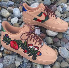 fda43f77ecdd83 Custom Gucci Flower Air Force One Low Sneaker Heels