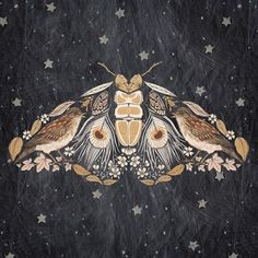 nachtmot samengesteld uit veren, vogels, bloemen – nocturnal moth composed of feathers, birds, flowers – moth # assembled Art And Illustration, Illustrations, Arte Inspo, Kunst Inspo, Sexy Tattoos For Girls, Girl Tattoos, Potnia Theron, Arte Fashion, Creation Art