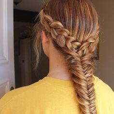 Dutch lace braids into a fishtail braid