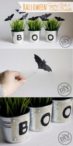 "DIY Halloween Boo Buckets and Bats. Ooh, I'm thinking three ""Boo"" buckets of baked goodies as a hostess gift, or contribution to a Halloween party! Diy Deco Halloween, Bonbon Halloween, Diy Halloween Dekoration, Halloween Bat Decorations, Soirée Halloween, Easy Halloween Crafts, Holidays Halloween, Holiday Crafts, Holiday Fun"