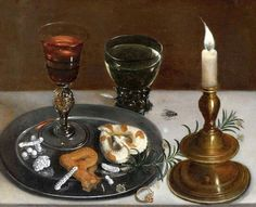 Clara Peeters (Flemish painter) 1594 - ca. 1657 Still Life with Facon-de-Venise Glass, Roemer and a Candle, 1607 oil on panel 23.7 x 36.7 cm. signed l.l.: .CLARA.PEETERS.