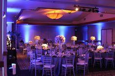 Blue uplighting by Honored Occasions #bluewedding #weddinglighting