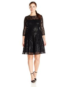 0f9c0a4d8cba1 S.L. Fashions Women s Plus-Size Long Sleeve Lace Party Dress   To view  further
