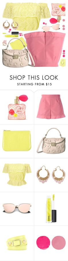 """Shorts: Pink & Yellow"" by petalp ❤ liked on Polyvore featuring Victoria's Secret, RED Valentino, LIU•JO, Tommy Hilfiger, Miss Selfridge, Irene Neuwirth, MAC Cosmetics, Balenciaga, Wander Beauty and yellow"
