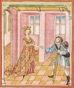 Elisabeth <Nassau-Saarbrücken, Gräfin, 1393-1456> Herpin — Stuttgart (?) - Werkstatt Ludwig Henfflin, um 1470 Cod. Pal. germ. 152 Folio 90v