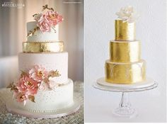 Gold wedding cakes from Anna Elizabeth Cakes via WedLuxe (left) Faye Cahill Cake Design (right)