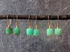 Chrysoprase Cube Earrings, Gold vermeil bead , Mint and Gold Earrings, Gemstone Earrings, Gold Filled Ear wire, Gift for Her, Boho Jewelry by RedChairStudioSilk on Etsy