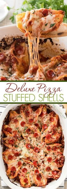 Deluxe Pizza Stuffed Shells | Classic stuffed shells meet deluxe pizza in this fusion of Italian meals... they're easy to make, freezer friendly, and great for families! | http://thechunkychef.com #ad @RaguSauce