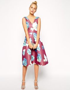 Image 1 of ASOS Premium Structured Midi Dress in Large Floral Print