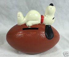 Vintage 1966 Snoopy Peanuts Football Old Money Box Coin Piggy Bank Ball Sleeping