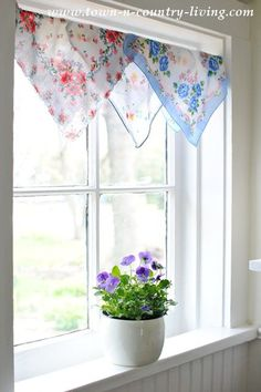 Create a cottage style window treatment with vintage hankies.