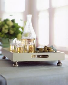 Tray Chic - Simple drawer pulls become fancy feet for a plain wooden tray and make it worthy of special occasions