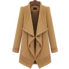 SheIn(sheinside) Camel Lapel Long Sleeve Belt Woolen Coat