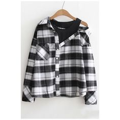 Fashion Fake Two-Piece Cold Shoulder Plaids Pattern Long Sleeve... ($27) ❤ liked on Polyvore featuring tops, cold shoulder tops, long shirts, long sleeve button up shirts, long sleeve button down shirts and collared shirt