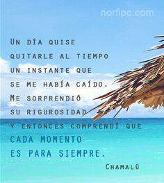 Un día quise quitarle al tiempo un instante que se me había caído, me sorprendió su rigurosidad y entonces comprendí que cada momento es para siempre. Frase de #Chamalú