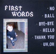 Baby's milestones scrapbook page