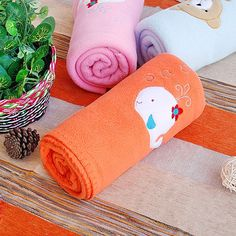 [White Whale - Orange] Embroidered Applique Coral Fleece Baby Throw Blanket (29.5 by 39.4 inches)