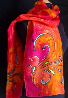Vibrant silk scarf turquoise and green swirls by FantasticPheasant, $35.00