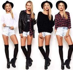 4 cool ways to wear over knee socks and denim shorts: white shirt, leather jacket and denim shirt