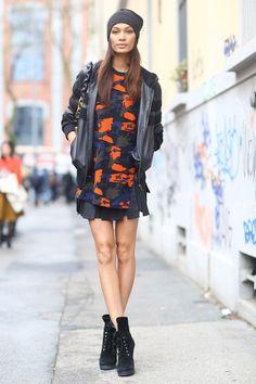 Joan Smalls in chic camo #MFW #Streetstyle