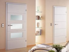 Internal doors by Sunfold Systems' in-doors range are supplied as complete pre-finished internal door sets ready for installation. Home Door Design, Home Interior Design, Door Sets, White Doors, Internal Doors, Windows And Doors, Glass Door, Tall Cabinet Storage, Design Inspiration