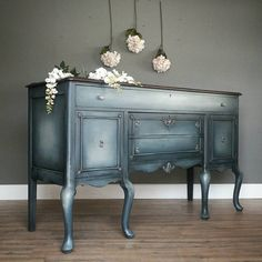 """It's hard to capture this color, I hope you can see it, its like a steel blue with lots of shading and fading. It has a French Country look to it, especially on this piece. This big buffet measures 22x66, 45"""" tall at the backsplash. $525, tomorrow at MV! -Tara #modernvintage #frenchblue #steelblue #frenchcountry #vintahestyle #homedecor #interiordesign from #cleveland to #canton to #hartville #ohio #330"""