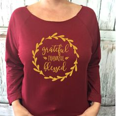 SALE Grateful Thankful Blessed 3/4 sleeve terry raw edge top, S-2XL, Thanksgiving Shirt, Thankful Shirt, Holiday Shirt, Thanksgiving by ShopatBash on Etsy