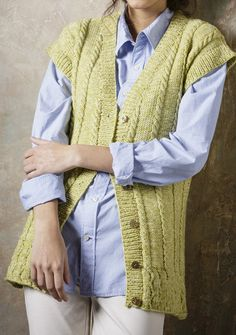 "Free Knitting Pattern for Cable Vest and Sweater by Stylecraft - Free until August 31. Knitting pattern for Sweater and Waistcoat in Batik DK (9291). Sizes 32/34, 36/38, 40/42, 44/46 48/50. http://www.awin1.com/cread.php?awinaffid=234273&awinmid=5626&p=https%3A%2F%2Fus.deramores.com%2Fproducts%2Fsweater-and-waistcoat-in-batik-dk-9292 Go to Deramores, add to your ""cart"", checkout with contact information - no payment info required, and then will get download link from Deramores."