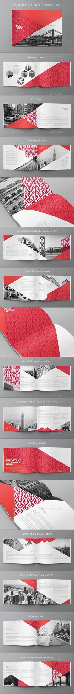 Modern Red Pattern Brochure — InDesign INDD #cool #pattern • Available here → https://graphicriver.net/item/modern-red-pattern-brochure/16132872?ref=pxcr