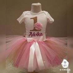 Gold One with Personalization onesie tutu set, visit www.lebonbontree.com ship worldwide