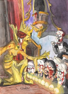 """""""Behold, the King in Yellow,"""" watercolor and pen on 140 lb watercolor paper. Scary Art, Creepy, Lovecraftian Horror, Eldritch Horror, Hp Lovecraft, Call Of Cthulhu, Scp, Full Moon, Nerdy"""