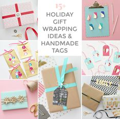 15+ HOLIDAY GIFT WRAPPING IDEAS & GIFT TAGS TO MAKE Dollar Store Gifts, Dollar Stores, Wrapping Ideas, Gift Wrapping, Blue Wrapping Paper, Fancy Bows, Presents For Kids, Handmade Tags