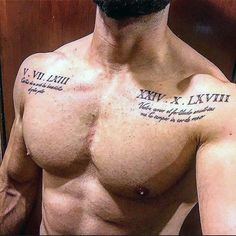 Roman Numeral Mens Upper Chest Tattoo With Quote Design