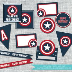Captain America Birthday Party Accessories Package | By Amanda Franks Designs | Digital File $12.00