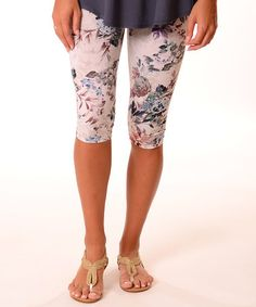 Look at this #zulilyfind! Ivory Floral Capri Leggings - Plus #zulilyfinds